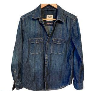 TNA Dark Wash Jean Button Up Shirt